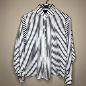 Faconnable Navy White Pinstripe Button Down Shirt